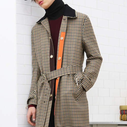 Gingham Check Wool-Silk Long Coat