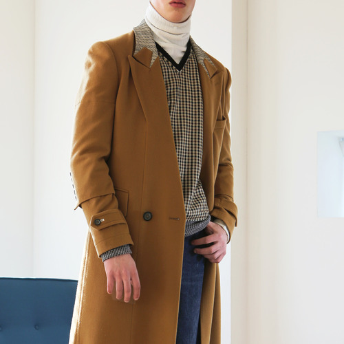 Camel color double breasted picked lapel long coat