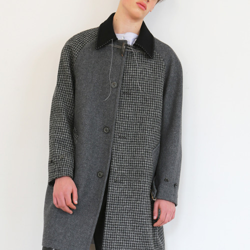Gray Harris tweed hound-tooth check single coat