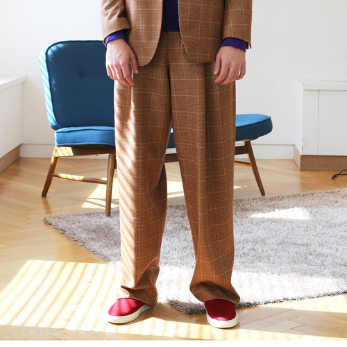 Brown & Red glen check two tuck wide trousers