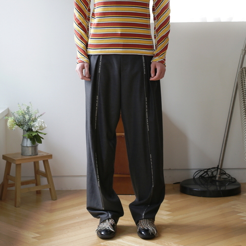 Dark Grey Selvedge Two Tuck Wide Trousers