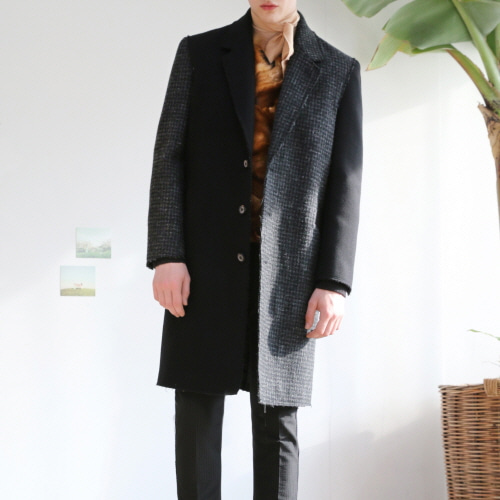 Black & Grey Hound's Tooth Single Raw-Cutting Coat