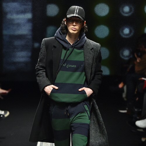 Green and Navy Embroidered Stripes Hooded Sweat Shirts