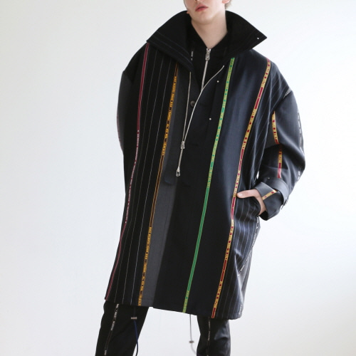 Black Multi Striped Selvedge Detailed Coat