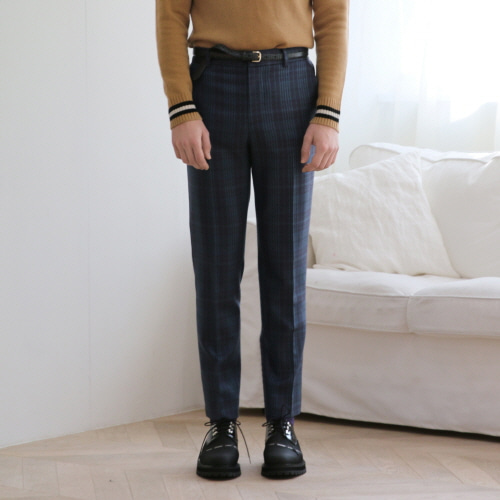 Blue Checked Selvedge Waist Band Slim Trousers