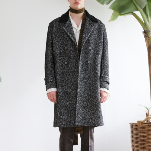 Grey Herringbone Double-Breasted Coat