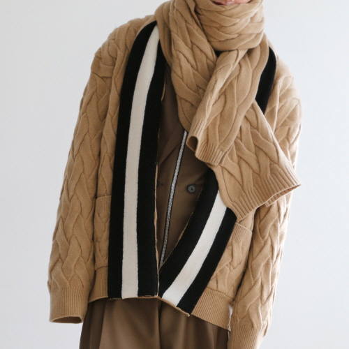 Camel Weaved Knit Oversized Cardigan