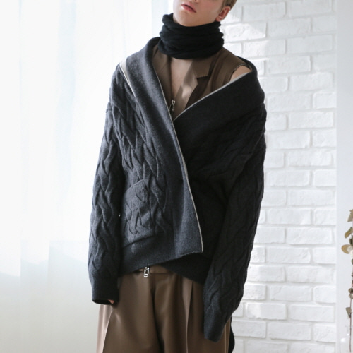 Black Weaved Knit Oversized Cardigan
