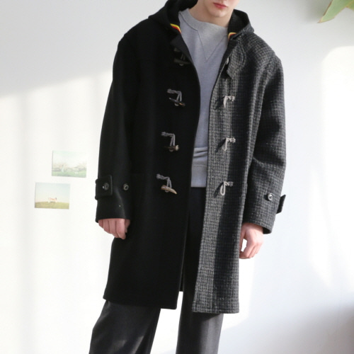 Black & Grey Hound's Tooth Duffle Coat