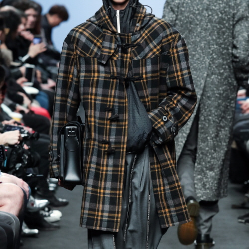 Orange Tartan Check Duffle Coat