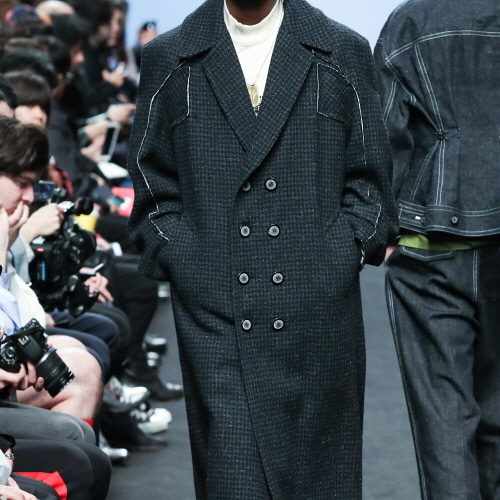 Navy Check Raw Arm-hole Long Coat