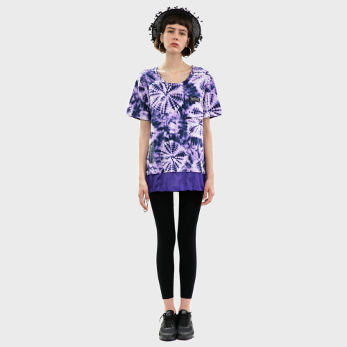 Deep Purple Tie-dye Cotton-Nylon T-shirt