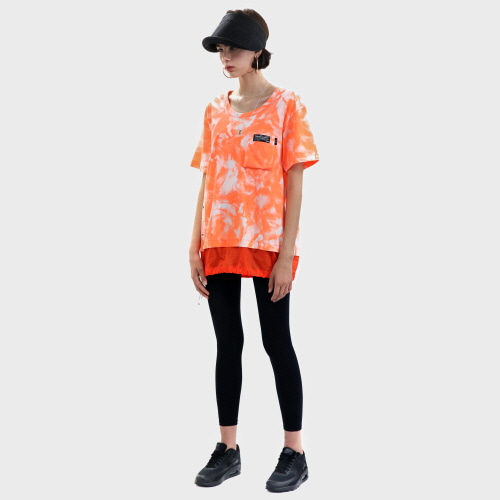 Orange Tie-dye Cotton-Nylon Layered T-shirt