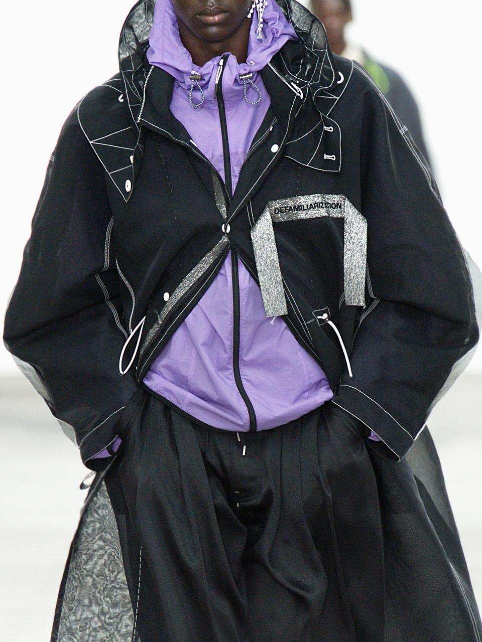 Black See-through Fishtail Parka