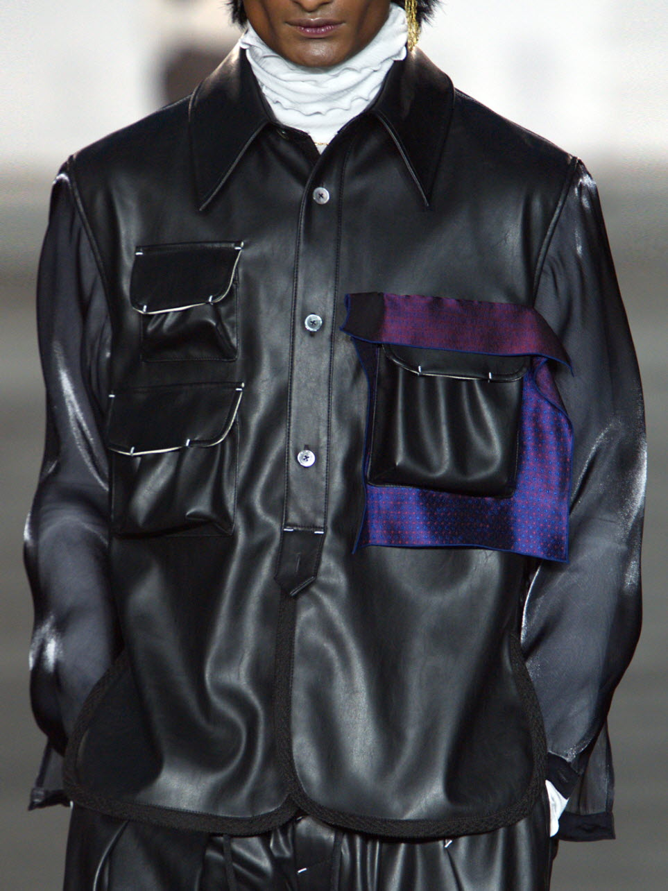 Handkerchief Pinched Faux Leather Shirt