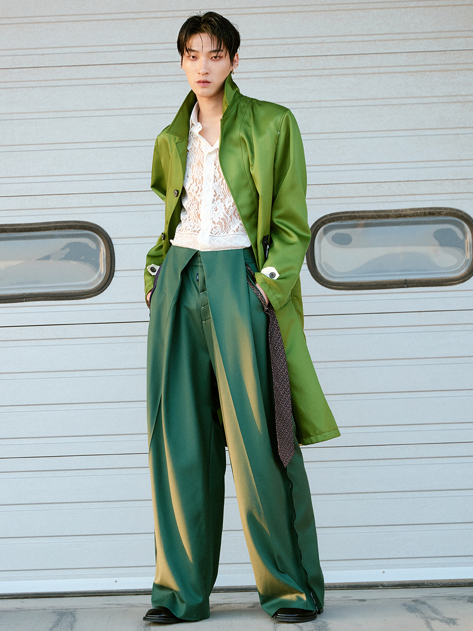 Green Shimmering Nylon Coat